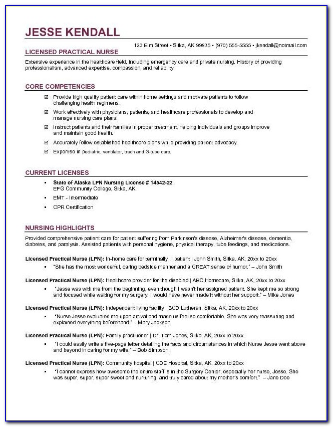 Examples Of Lpn Resume Objectives
