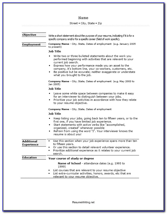Examples Of Resume Format