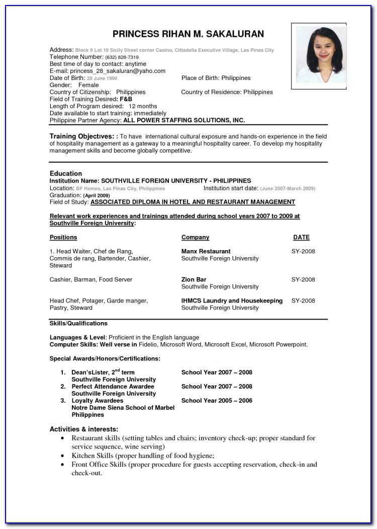 Examples Of Resume Formats