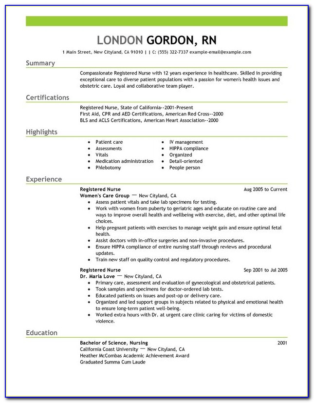Examples Of Resumes For New Graduate Nurses