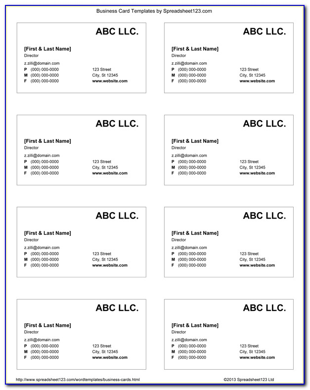 Excel Business Card Template Free