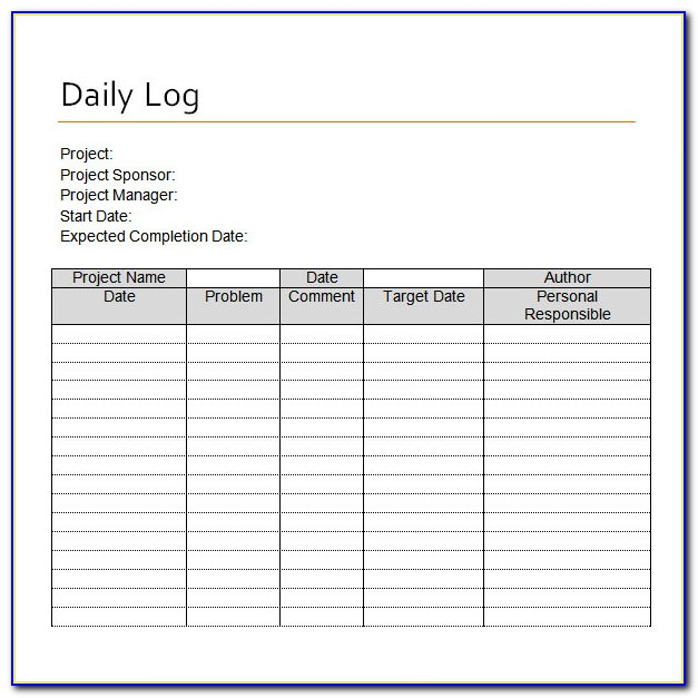 Excel Daily Log Book Template