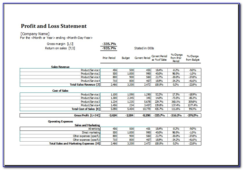 Excel Pl Report Template