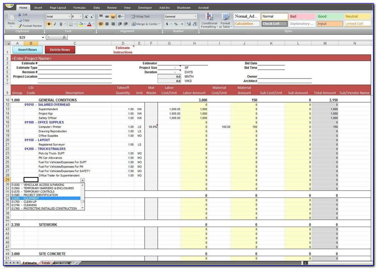 Excel Template For Construction Cost Estimating
