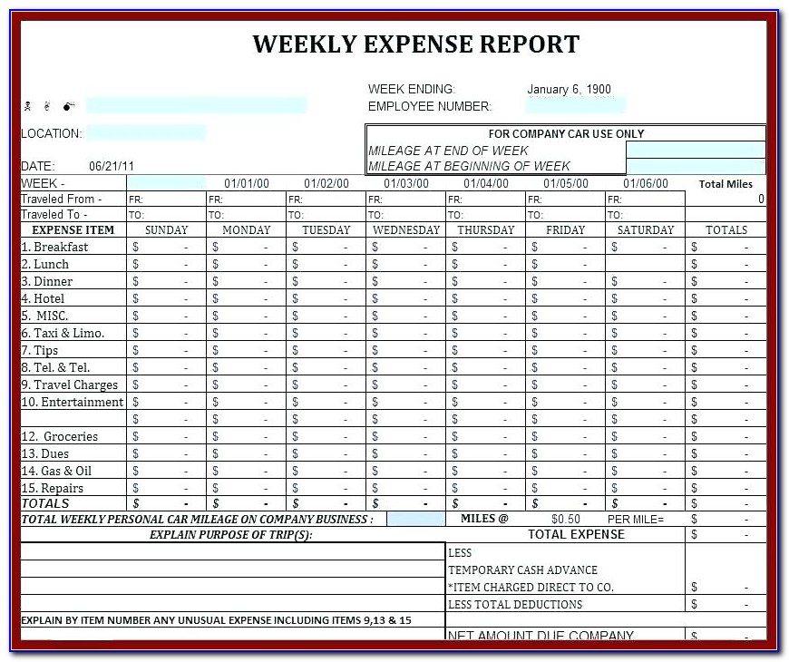 Expense Report Form Excel Free