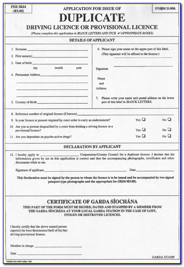 Eye Test Application Form For Driving License Ireland