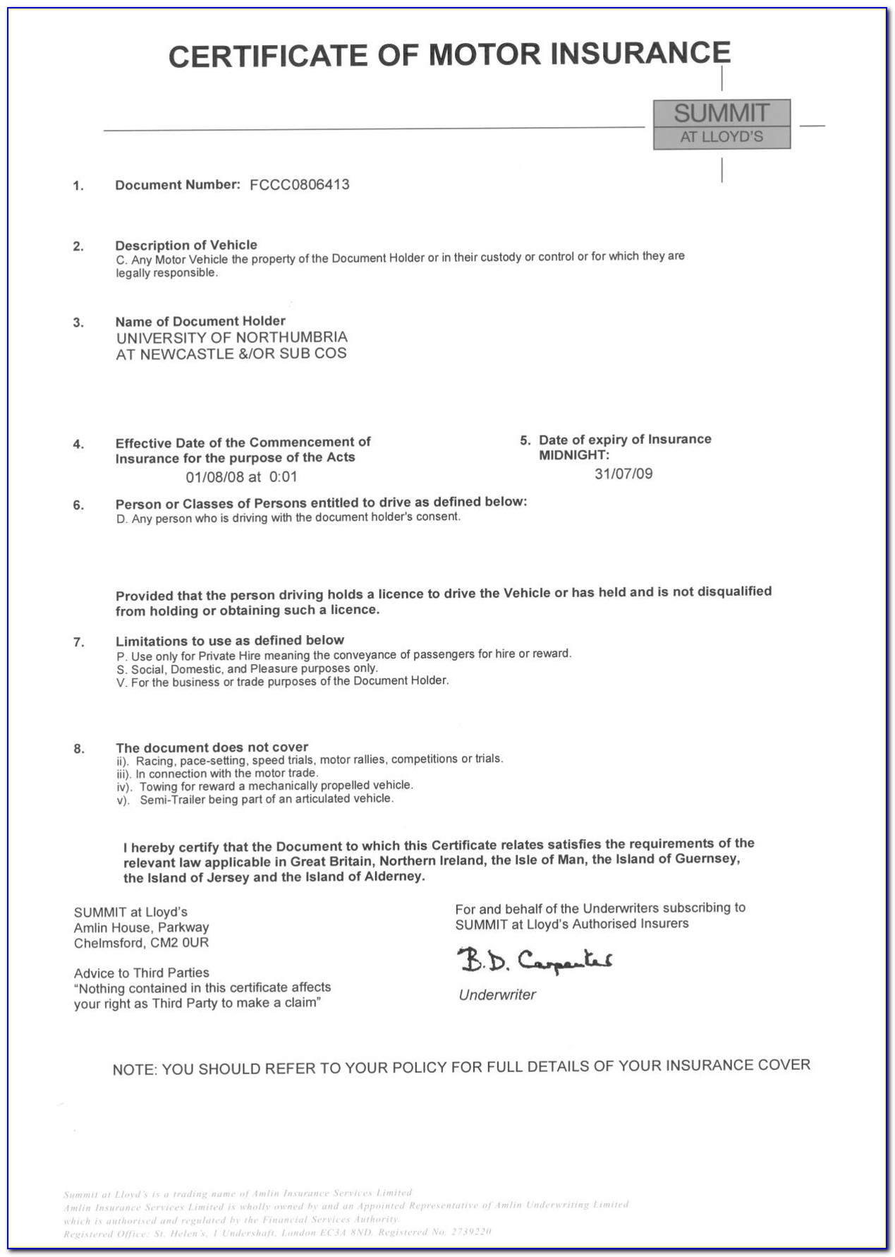Fake Proof Of Insurance Templates With Car Insurance Certificate