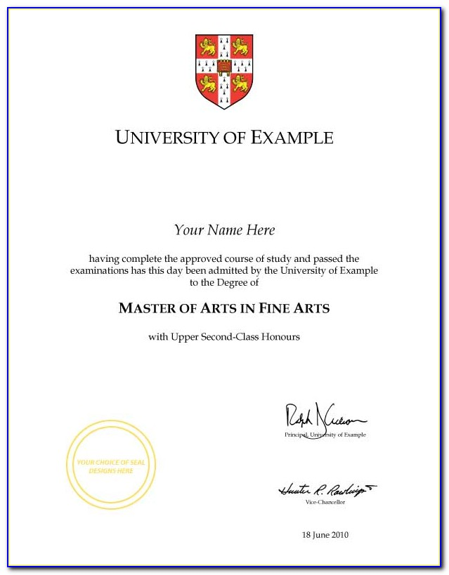 Fake Law Degree Certificate Template