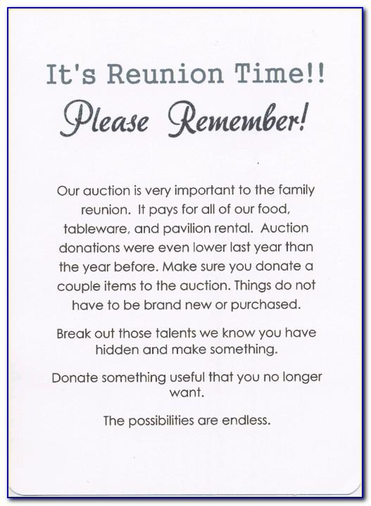 Family Reunion Information Letter Template