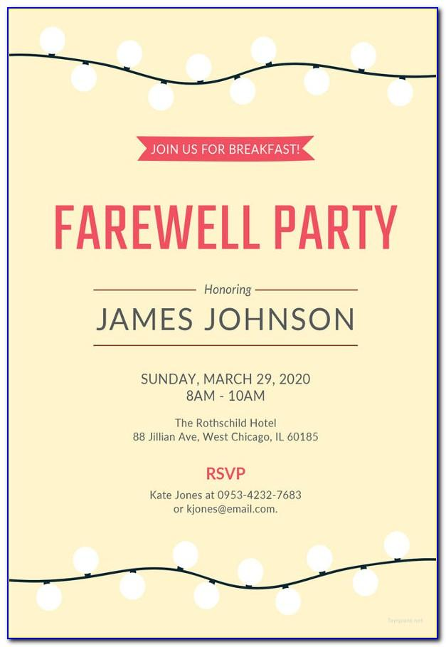 Farewell Party Invitation Email Template Free