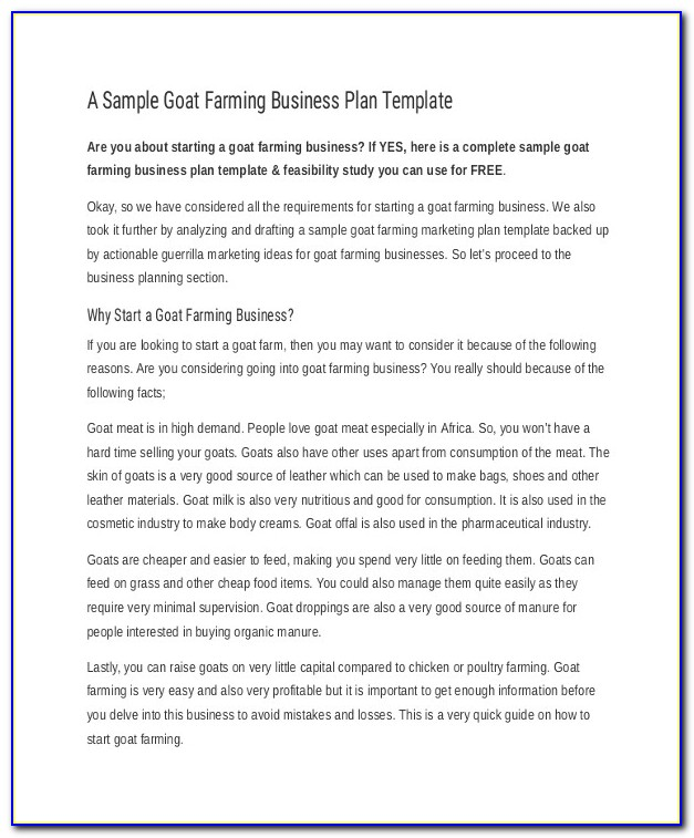 Small Cattle Farm Business Plan Template Farm Business Plan Template 9 Free Sample Example