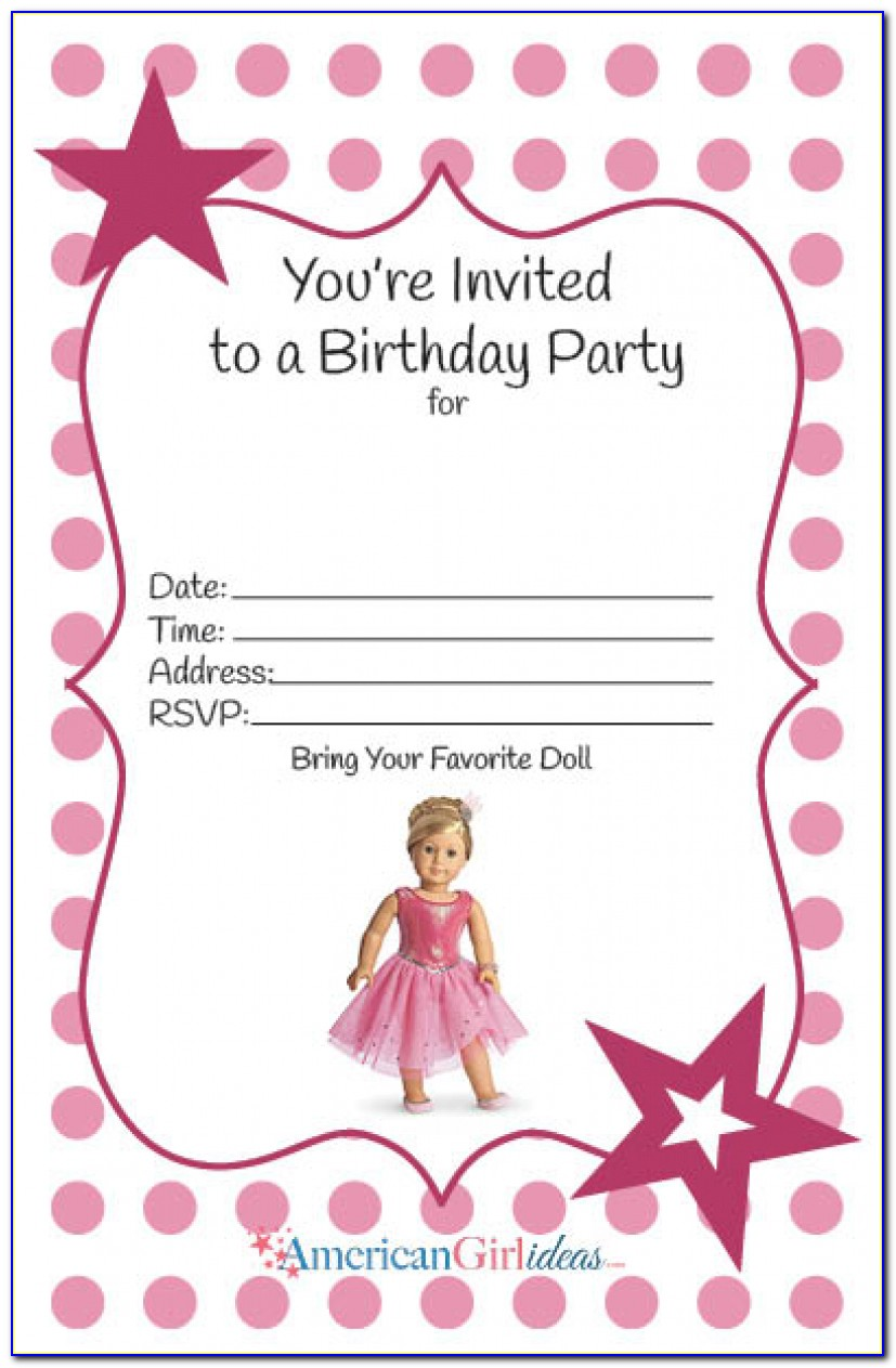 American Girl Birthday Party Invitations: Free Printables