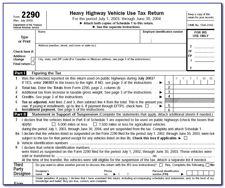 Federal Highway Use Tax Form 2290