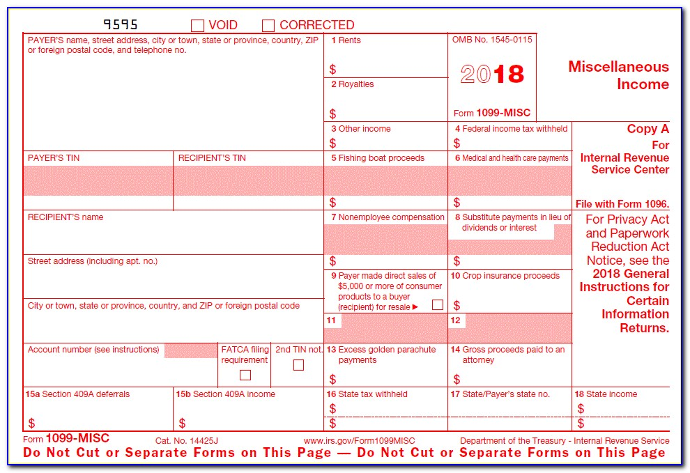 Fillable 1099 Misc Form 2018 Template