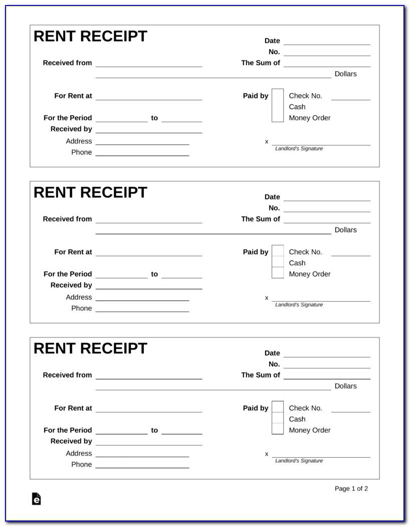 Fillable Rent Receipt Template Ontario