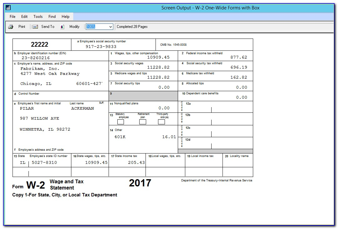 Fillable W 2 Form 2016 Free
