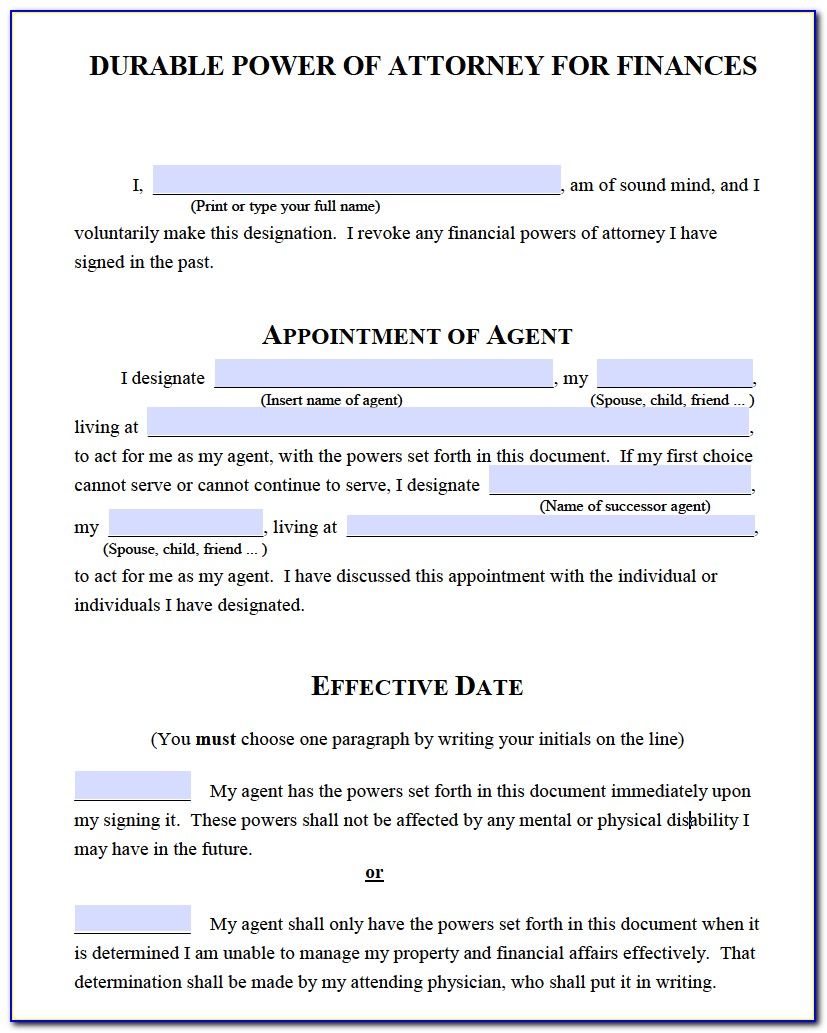 Financial Durable Power Of Attorney Form Michigan