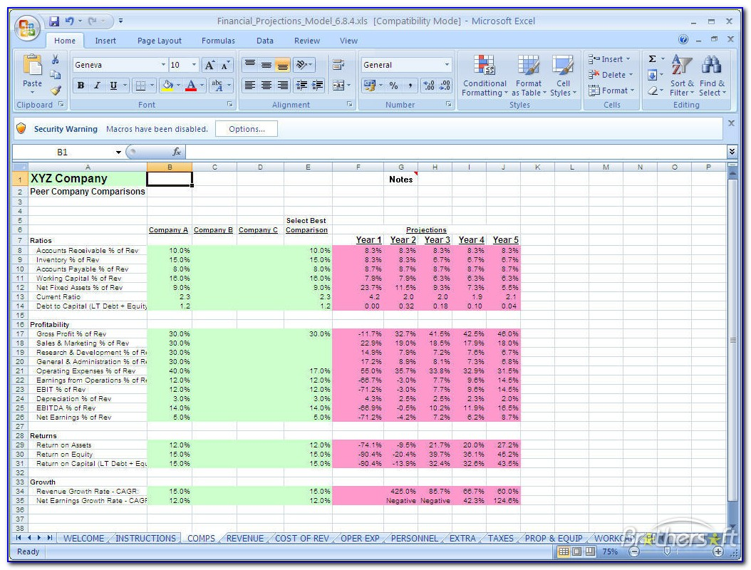 Financial Modelling Excel Templates