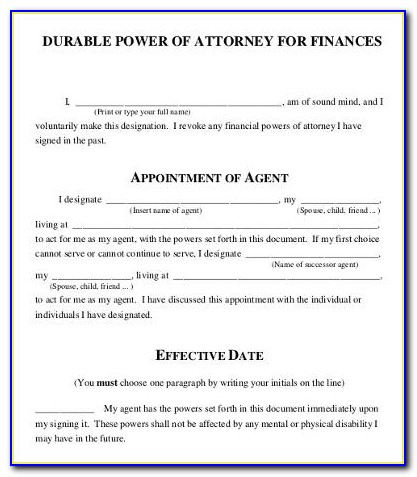 Financial Power Of Attorney Template Virginia