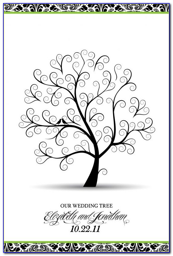 Fingerprint Tree Wedding Guest Book Template
