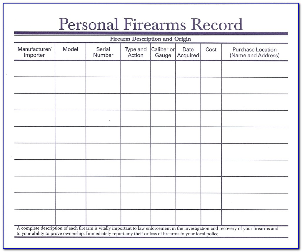 Firearms Record Book Template