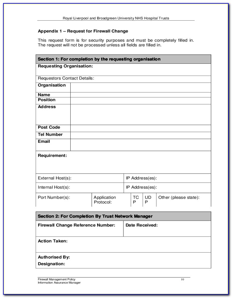 Firewall Security Policy Template