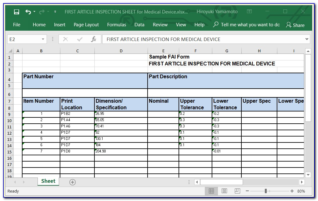 First Article Inspection Report Template Excel