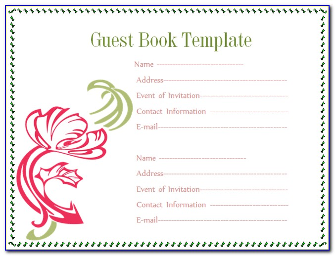 First Birthday Guest Book Template