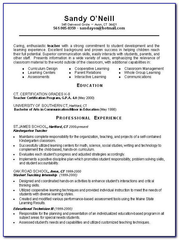 First Year Teaching Resume Template
