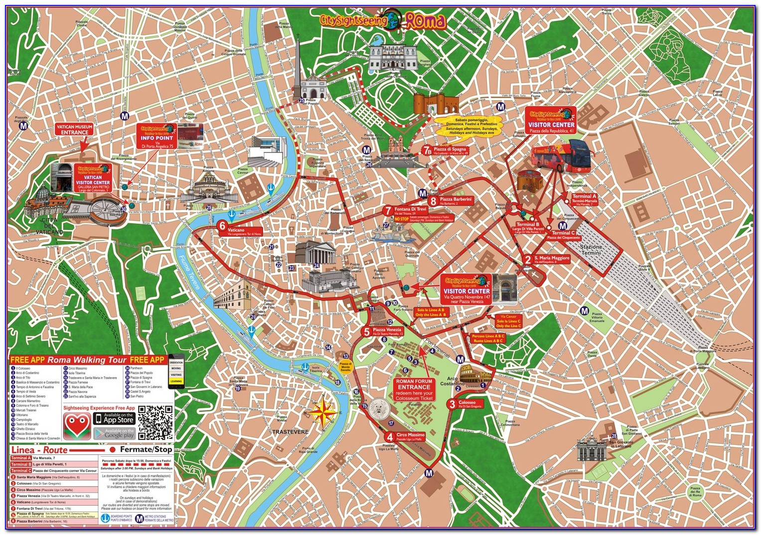 Florence Italy Hop On Hop Off Bus Map