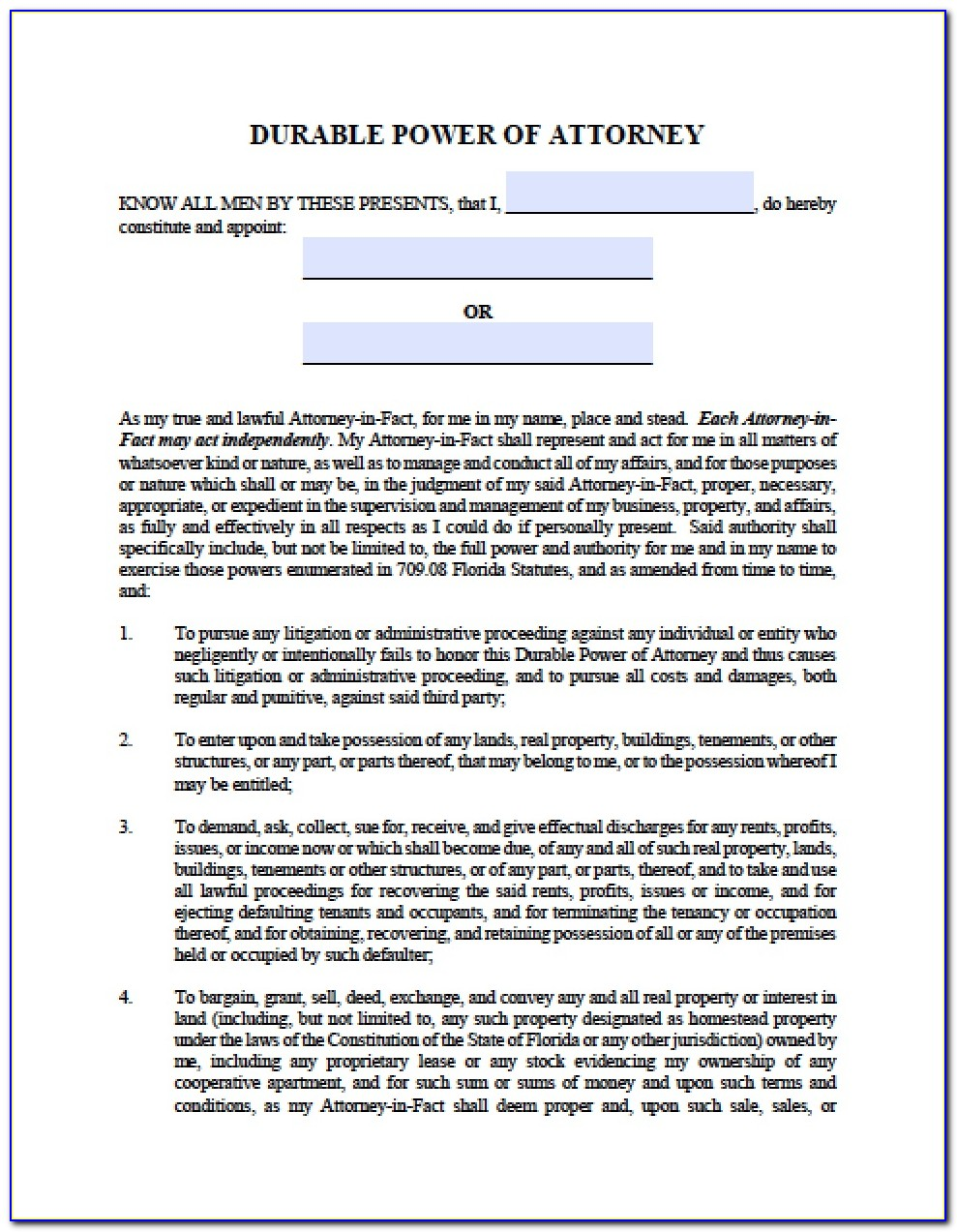 Florida General Durable Power Of Attorney Form