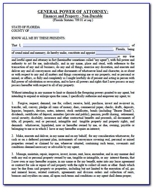 Florida General Durable Power Of Attorney Template