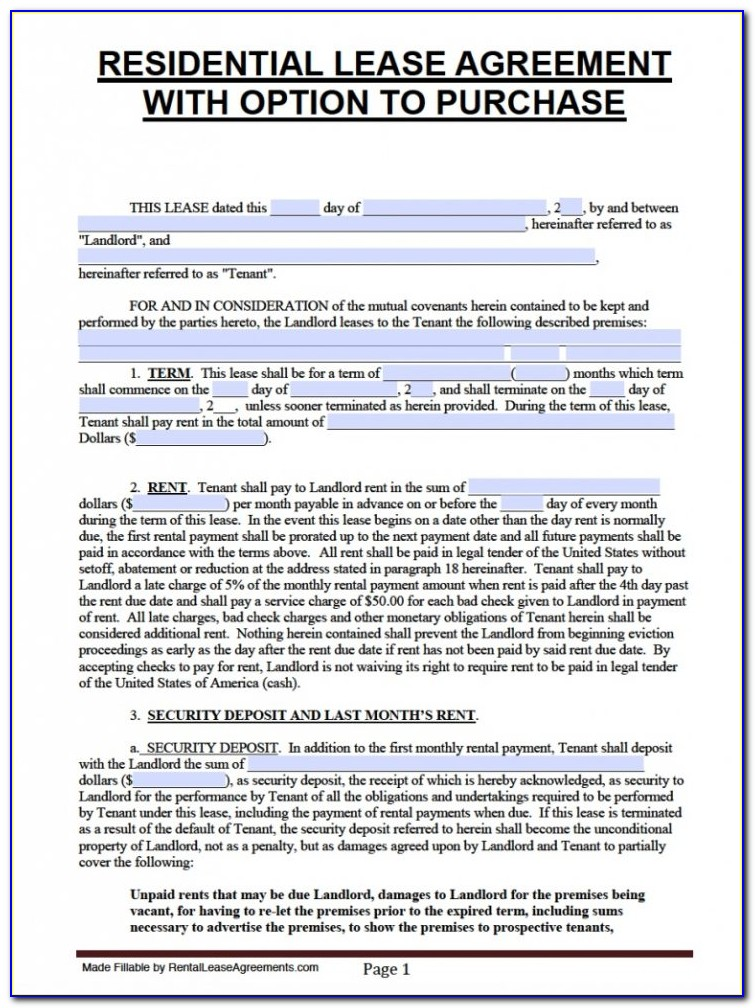 Florida Lease Agreement Template Word