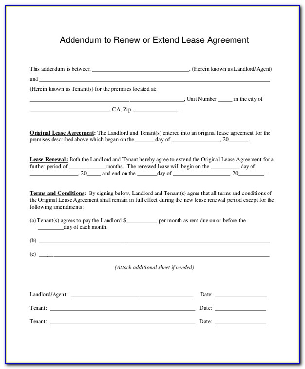 Florida Lease Renewal Form