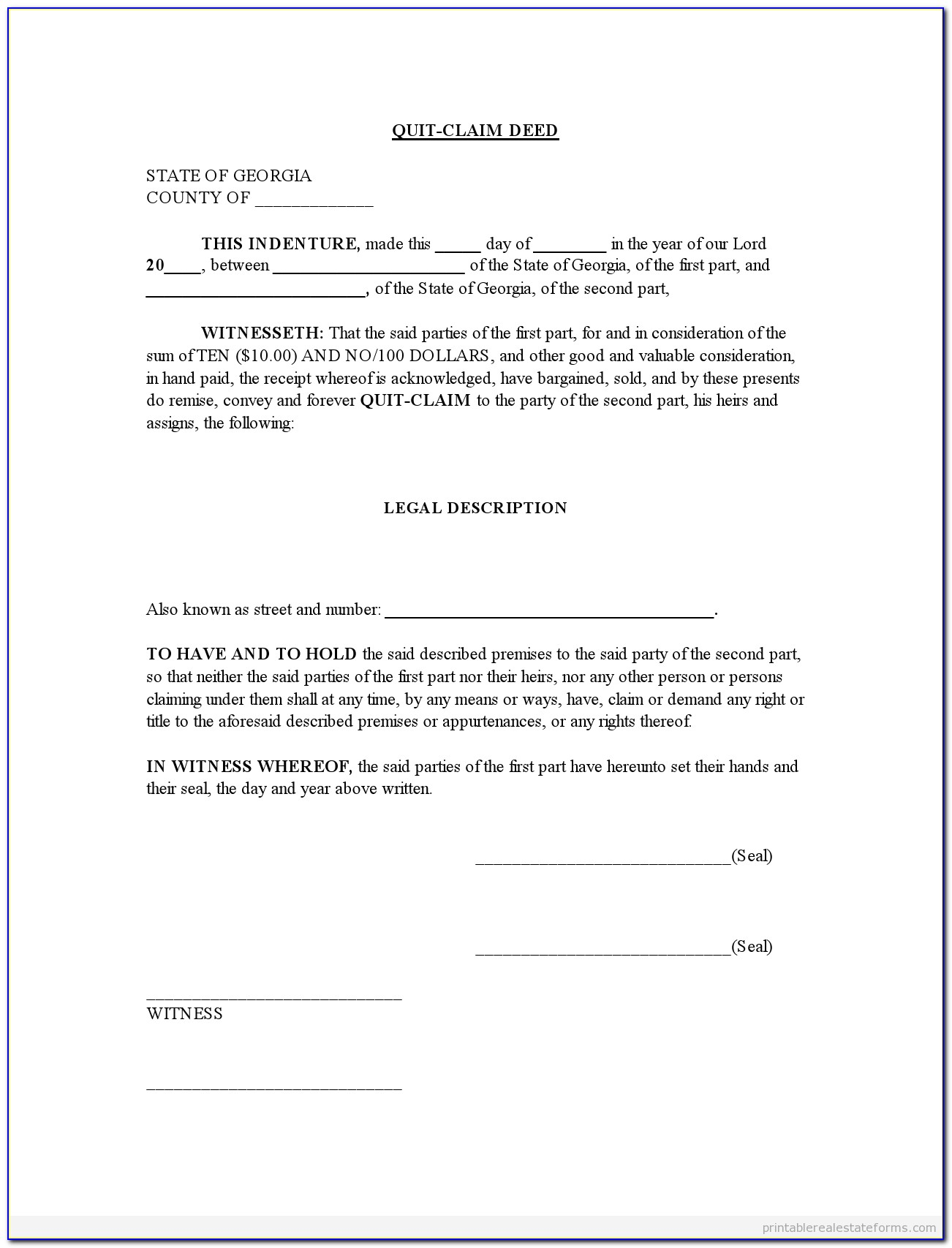 Free 5+ Printable Quit Claim Deed Form Template Pdf Sample For Free Printable Quit Claim Deed Form