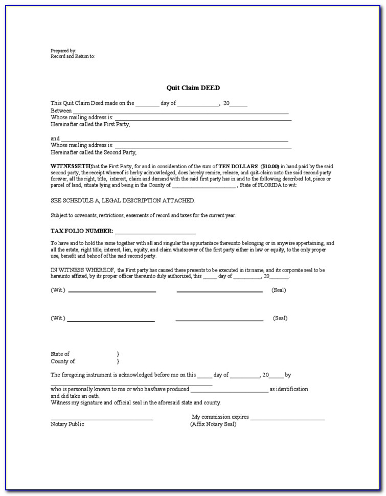 Florida Quit Claim Deed Form Template