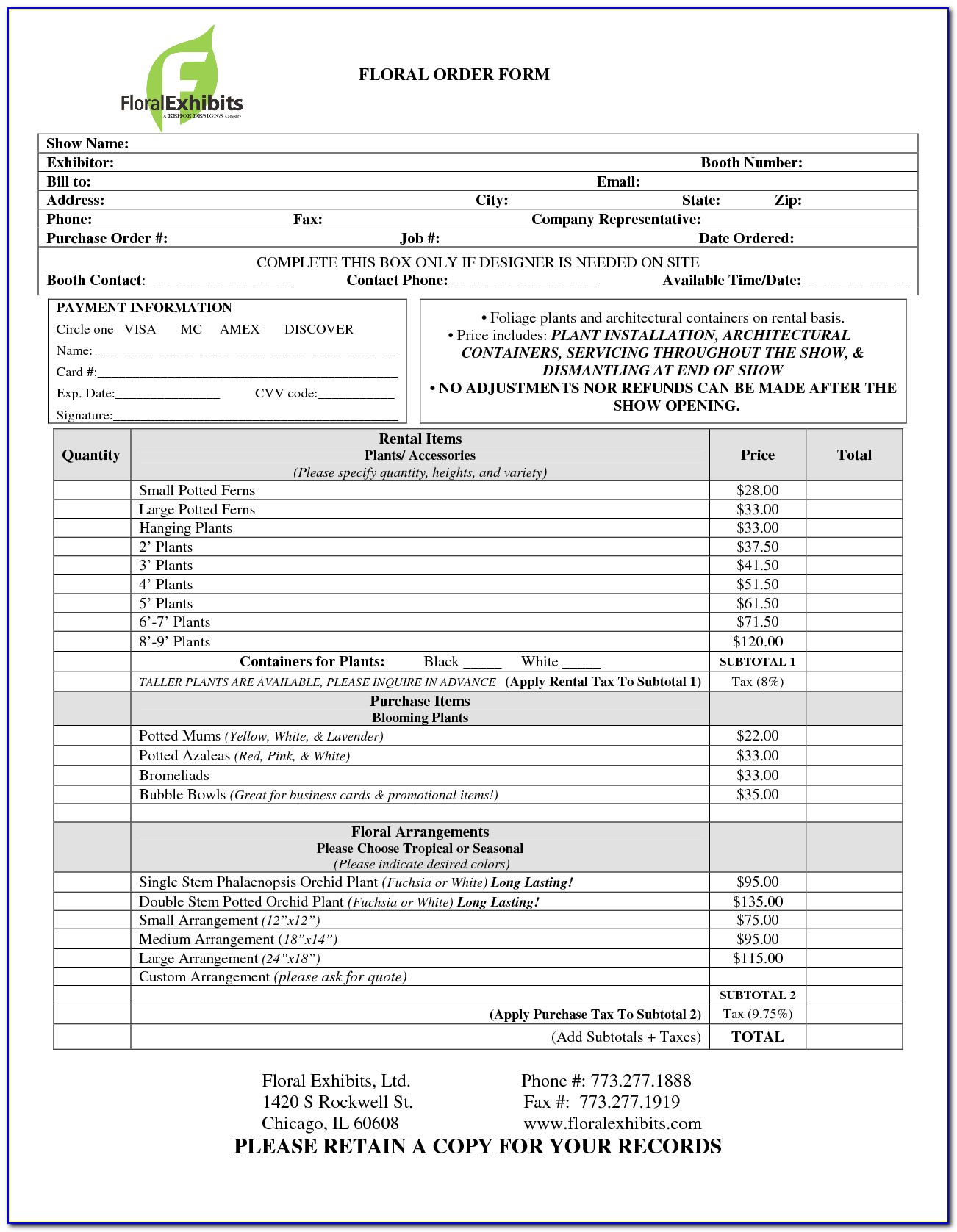 Flower Order Forms Template