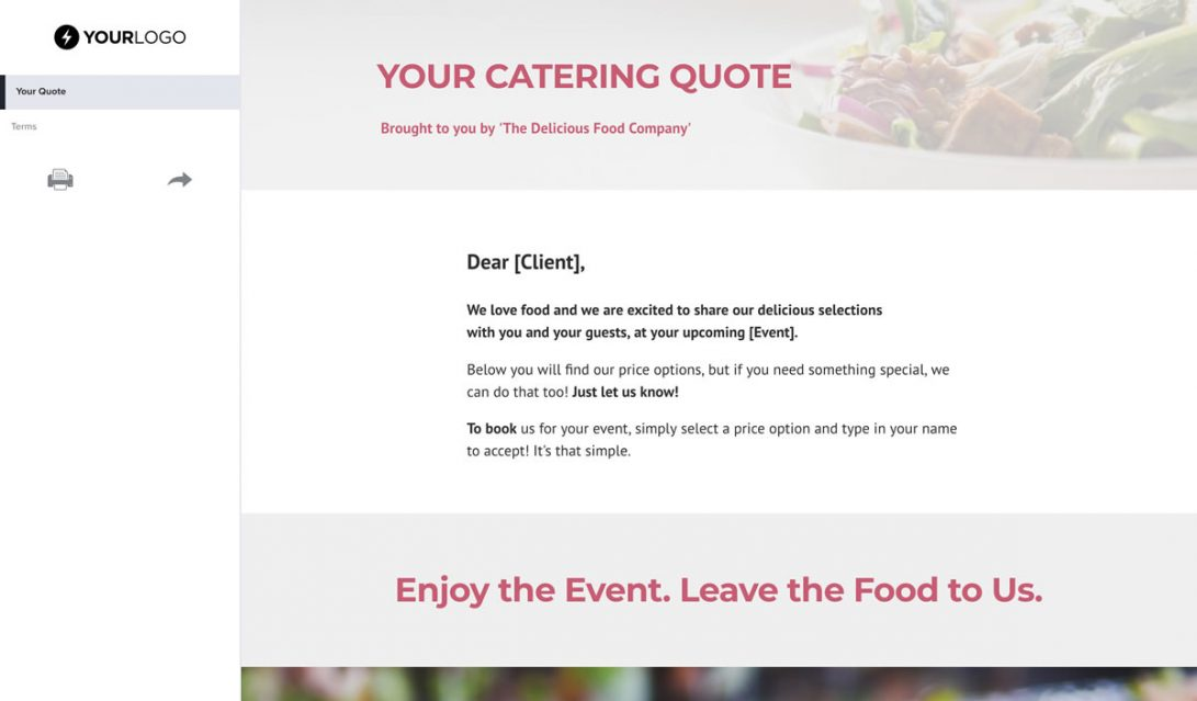 Food Catering Quote Template