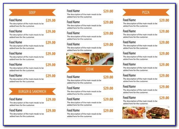 Food Menu Card Template Free Download