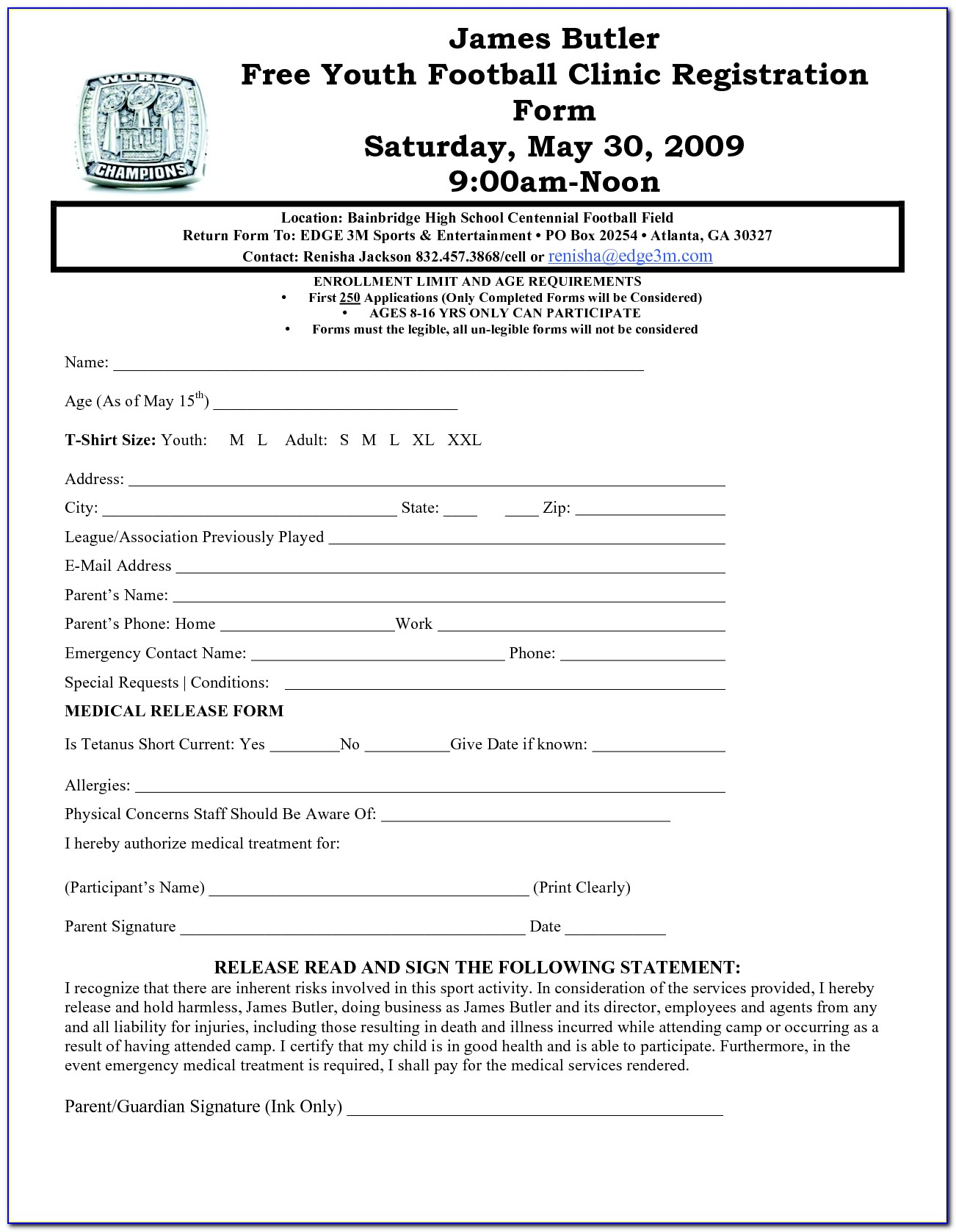 Football Player Registration Form Template Word   vincegray30
