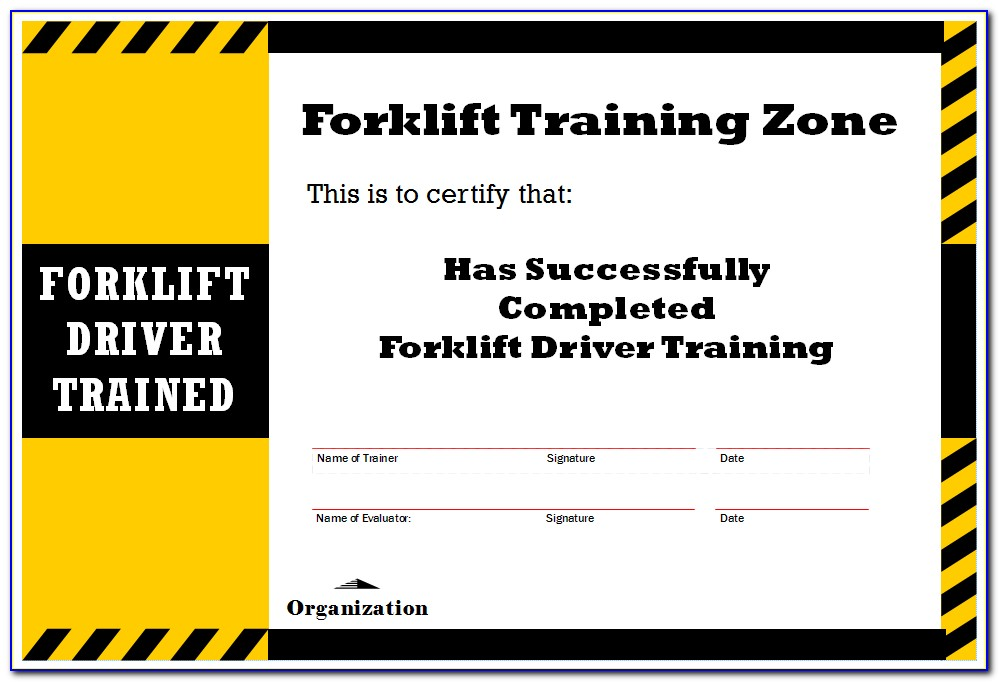 Forklift Certificate Template
