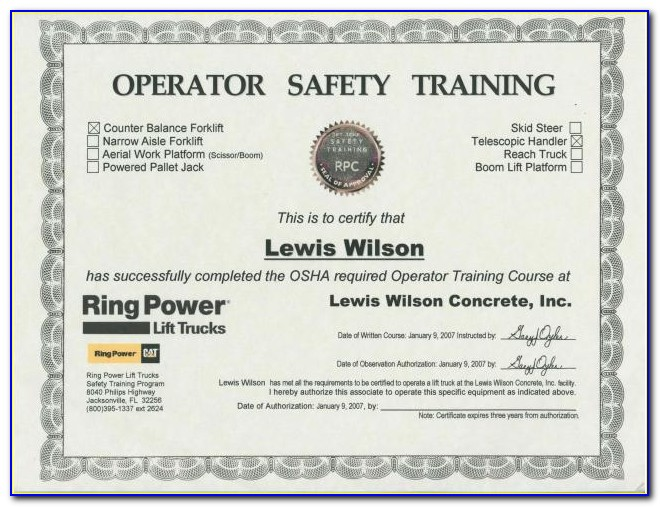 Forklift Certification Card Template Xls