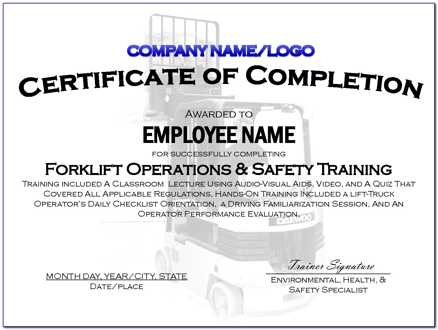 Forklift License Template Pdf