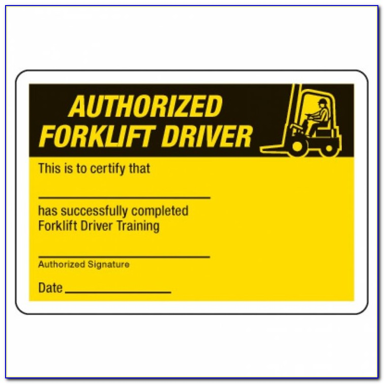 Forklift Safety Training Certificate Template