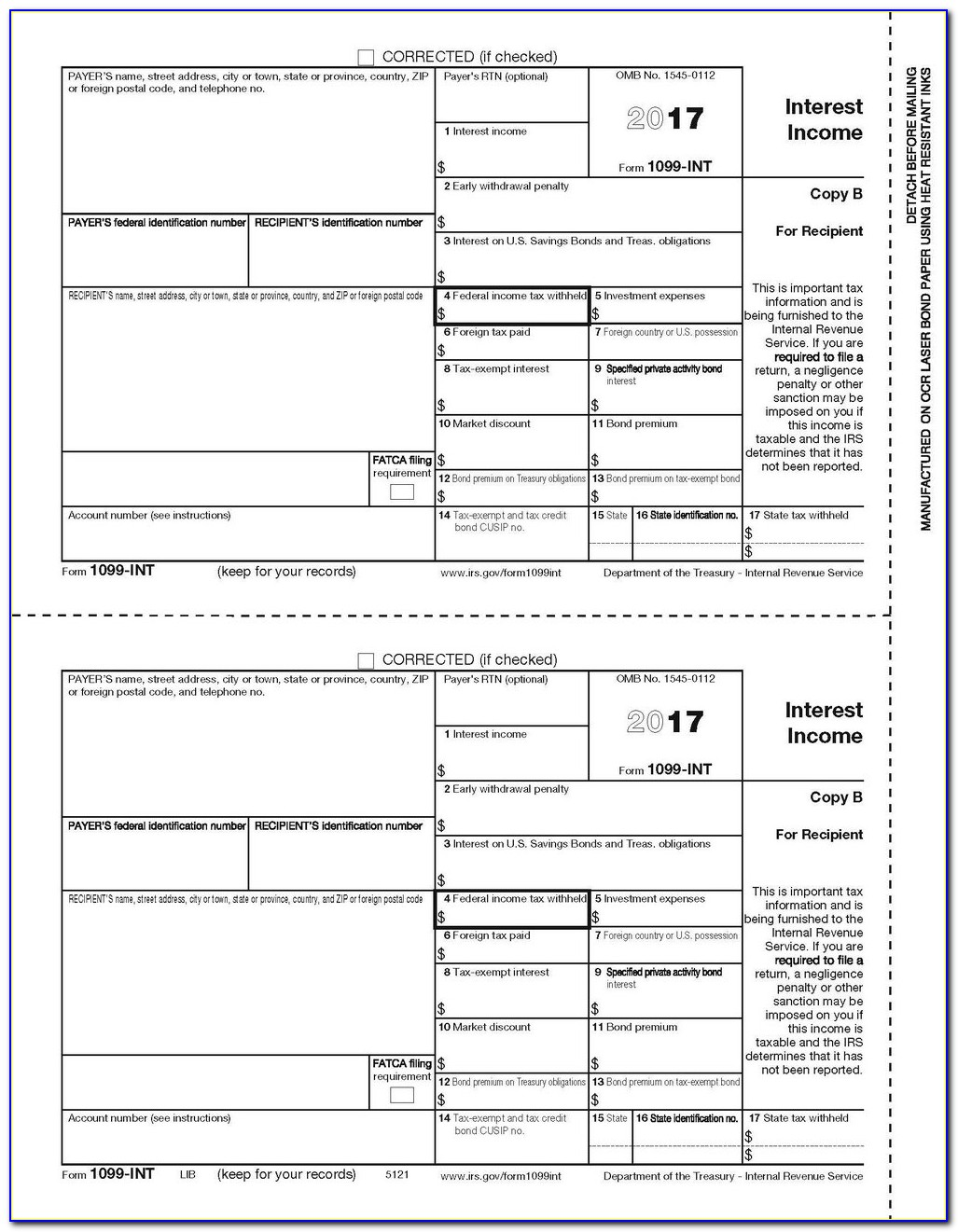 Form 1099 Misc Template Free