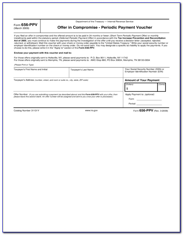 Form 656 L Offer In Compromise Doubt As To Liability