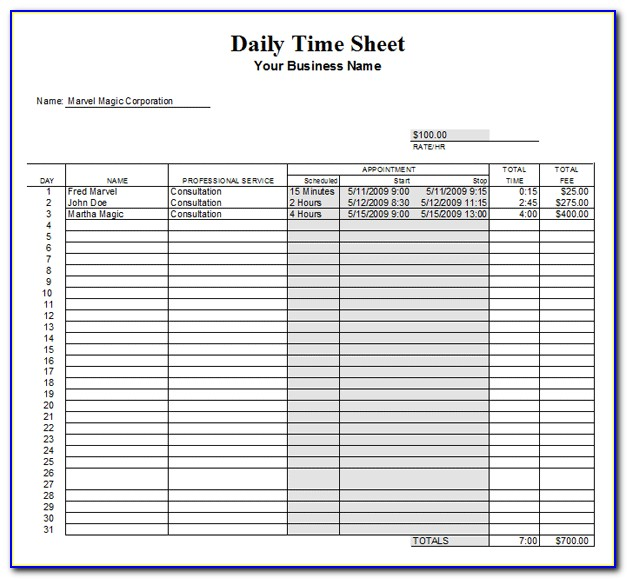 Form Daily Timesheet