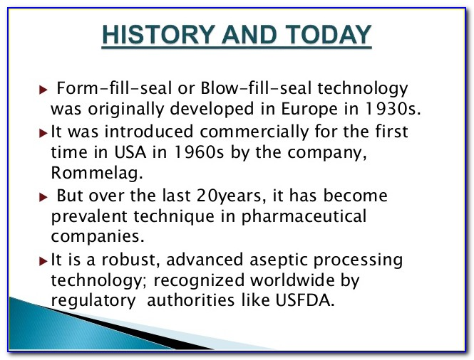 Form Fill Seal Technology For Parenterals Ppt