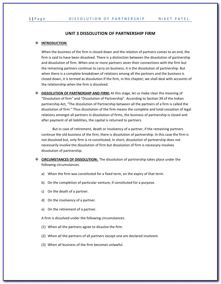 Form For Dissolution Of Partnership Firm