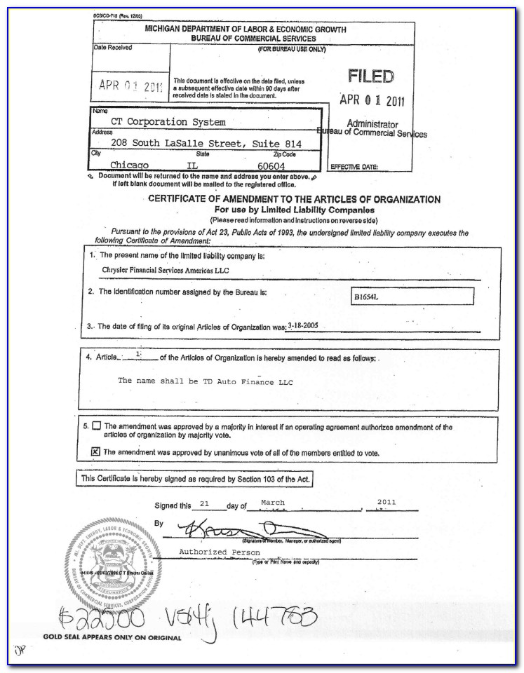 Form For Filing An Llc In Michigan